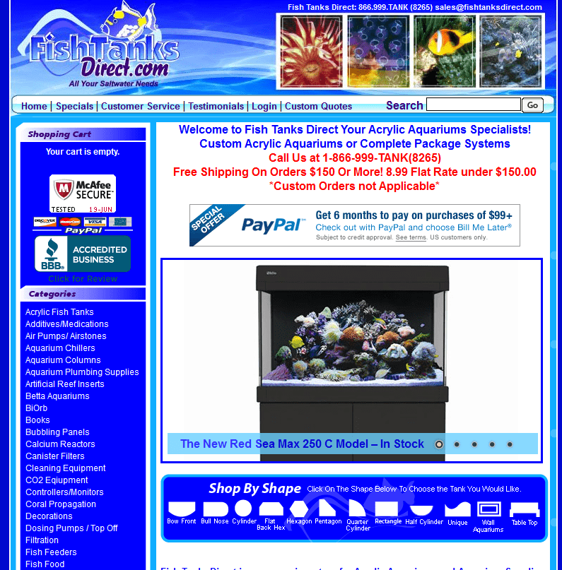 Fishtanks Direct before redesign