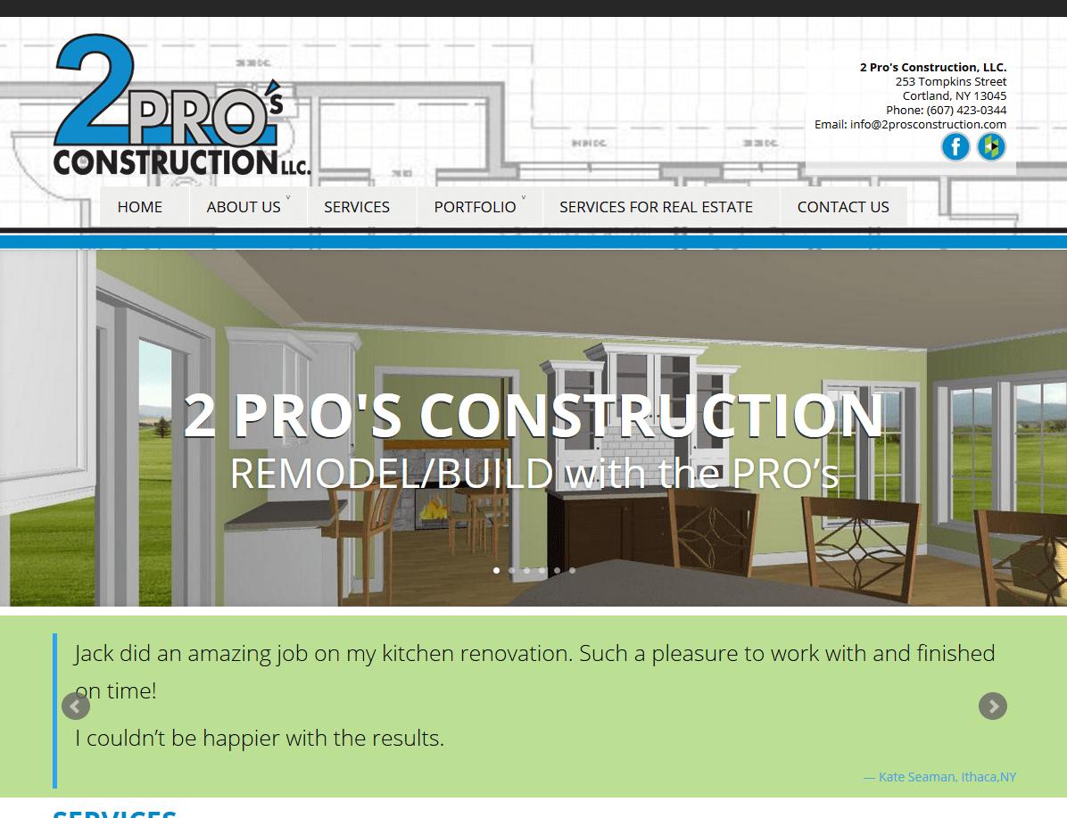 New WordPress Design – 2Pro's Construction